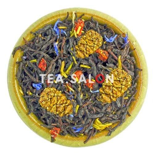 Чёрный чай «Клубника с розмарином и шишками»