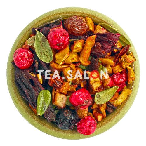 Ягодно-травянной чай «Смородина с брусничным листом, яблоком и гибискусом»